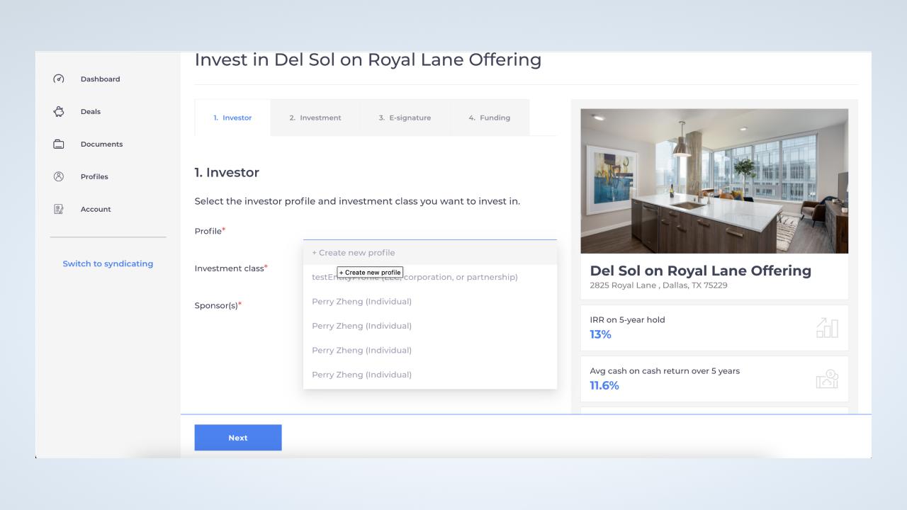 Create passive investor profile