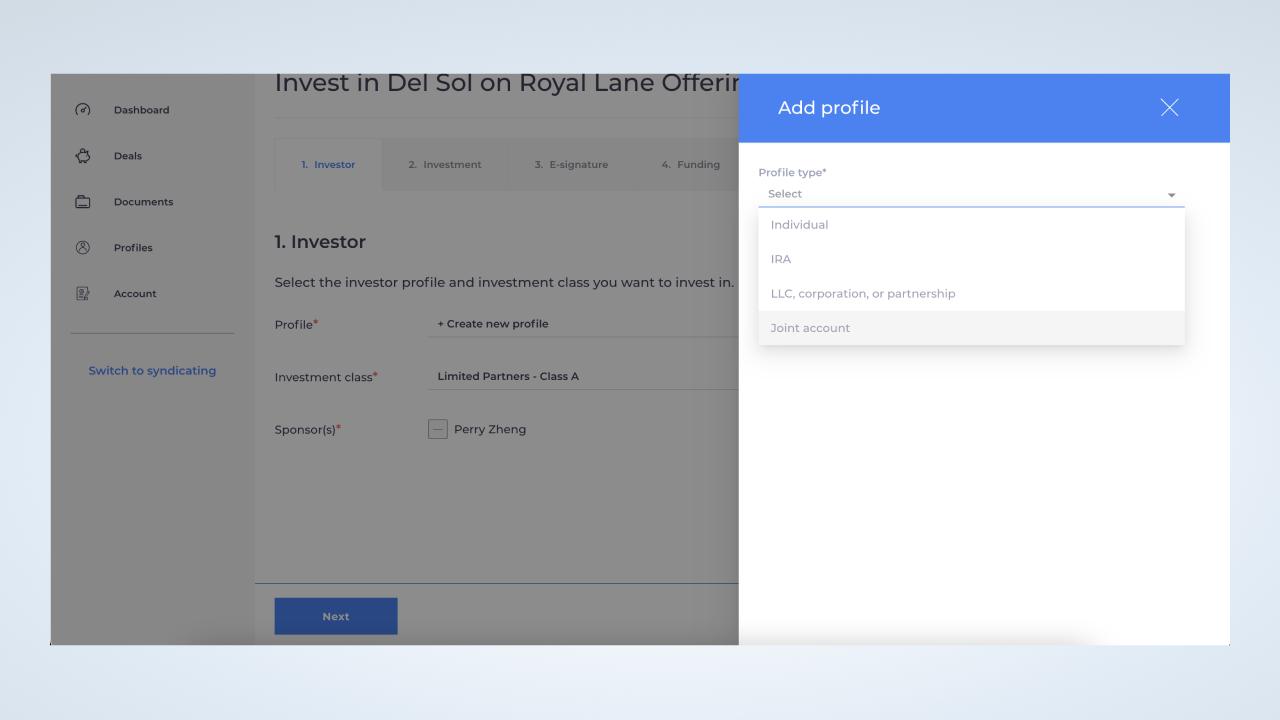 Select passive investor profile type